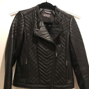 Black leather quilted Badgley Mishka moto jacket